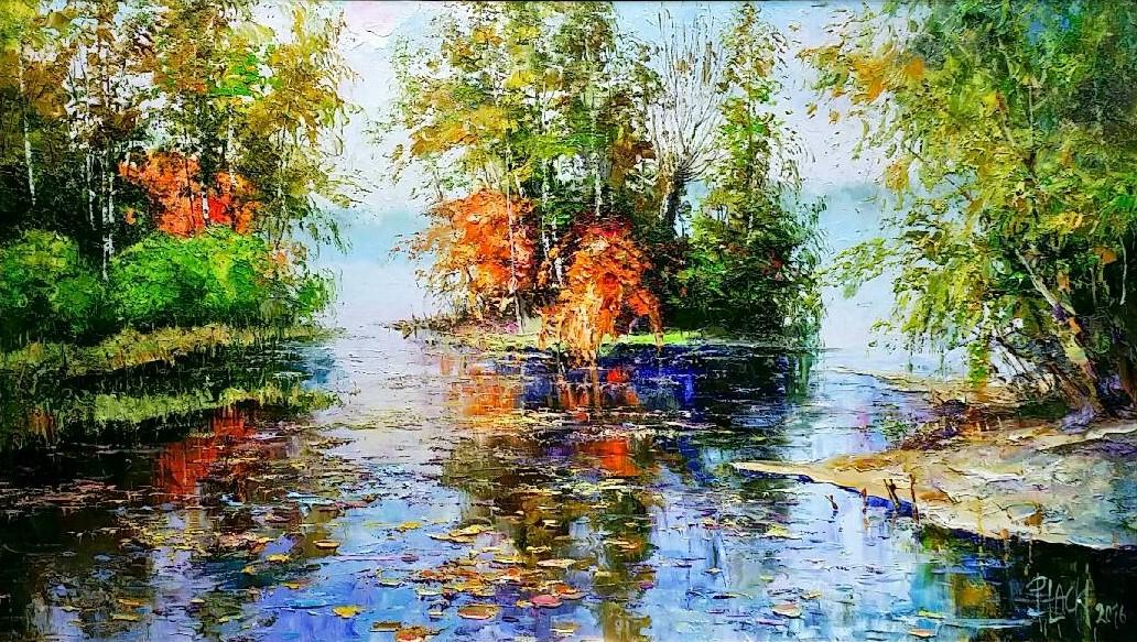 Autumn-waterⅠ」油彩38×65cm.jpg