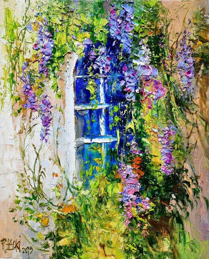 Wistaria-flowers」油彩3号1909-07.jpg