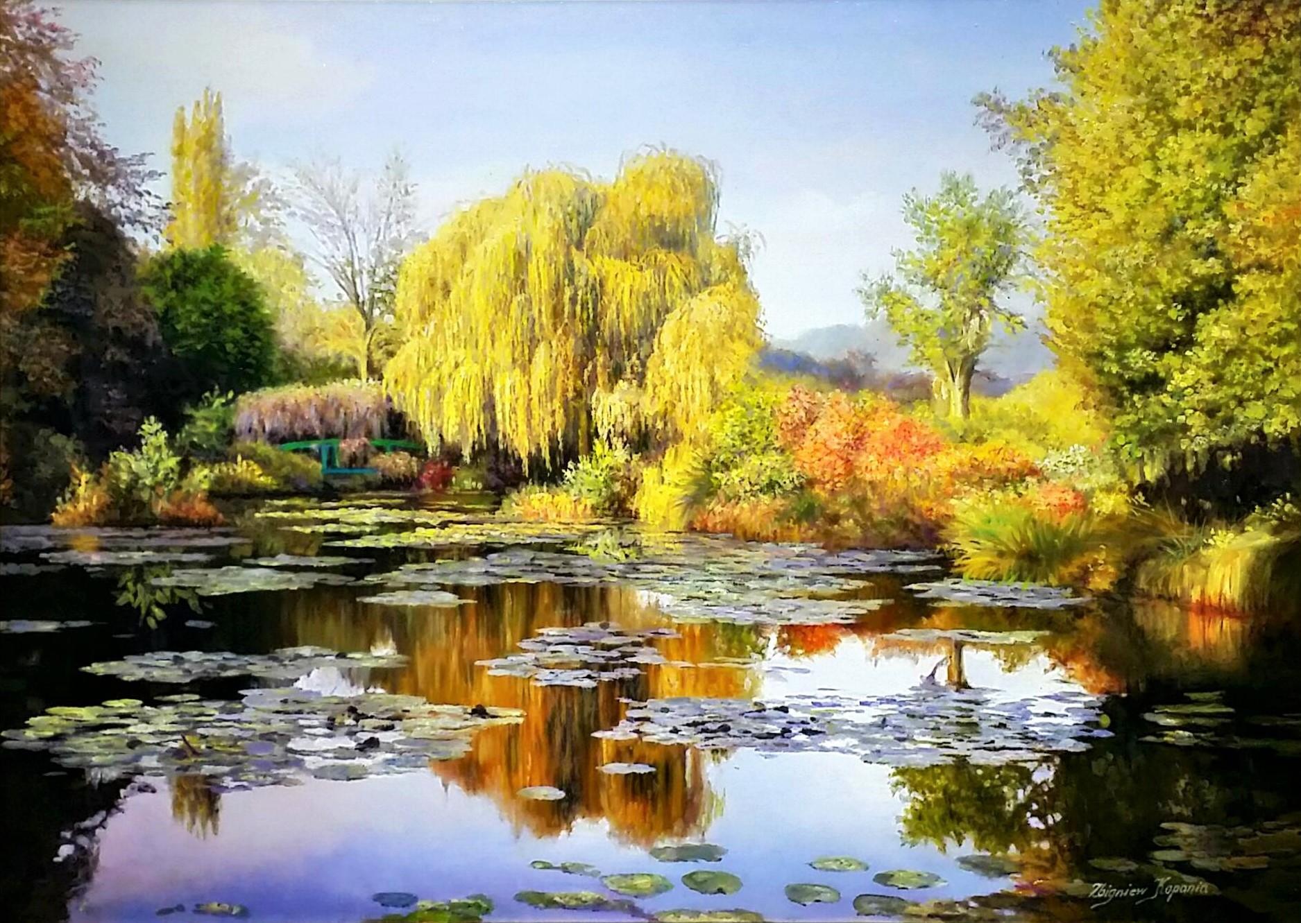 Autumn-Monet-garden」油彩50×70cm.jpg