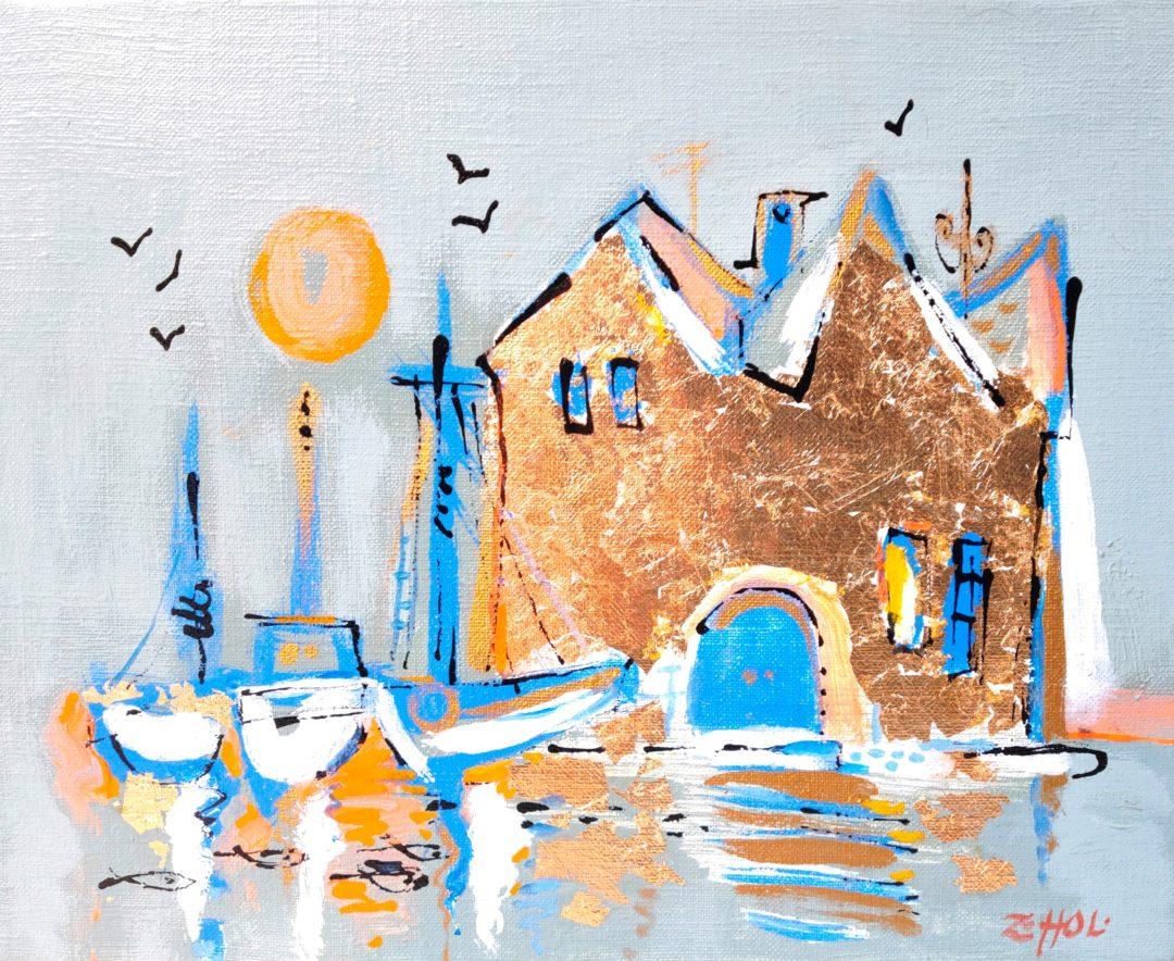 Houses-at-water」油彩・アクリル3号2101-21.jpg