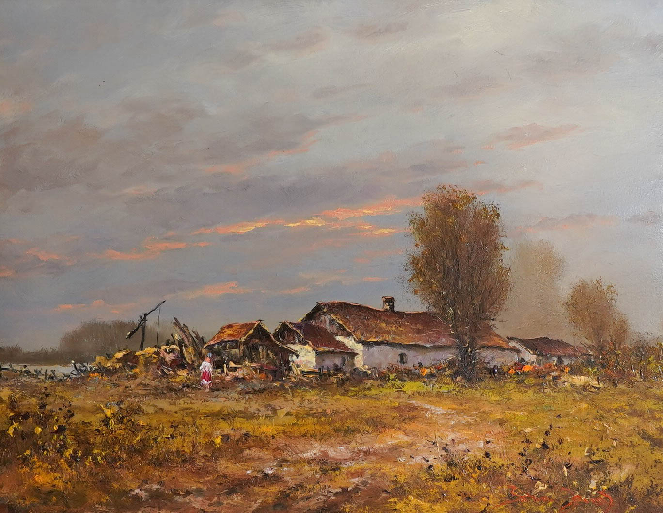J「Sunset-at-farm-house」油彩6号1810-01.jpg