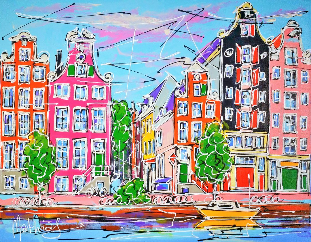Canal-of-Amsterdam-colored-houses-and-yellow-boat」アクリル30号.jpg