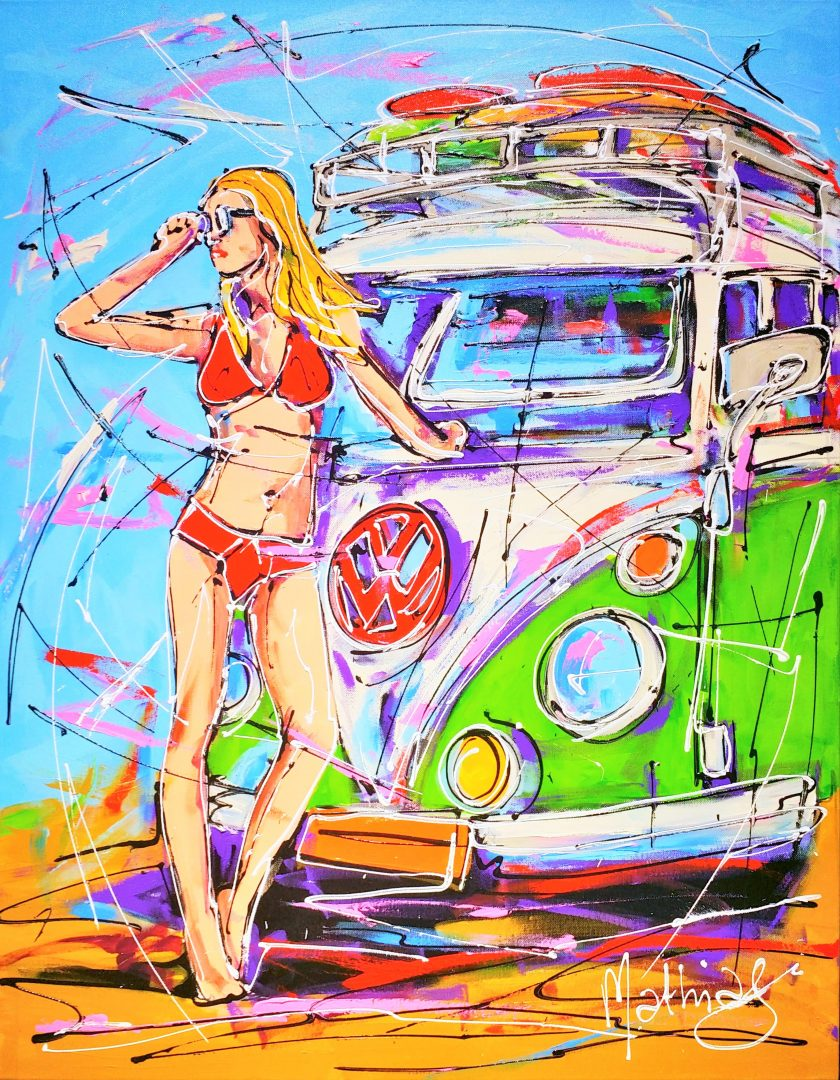 Green-surfing-VW-bus-and-yellow-girl」アクリル30号.jpg