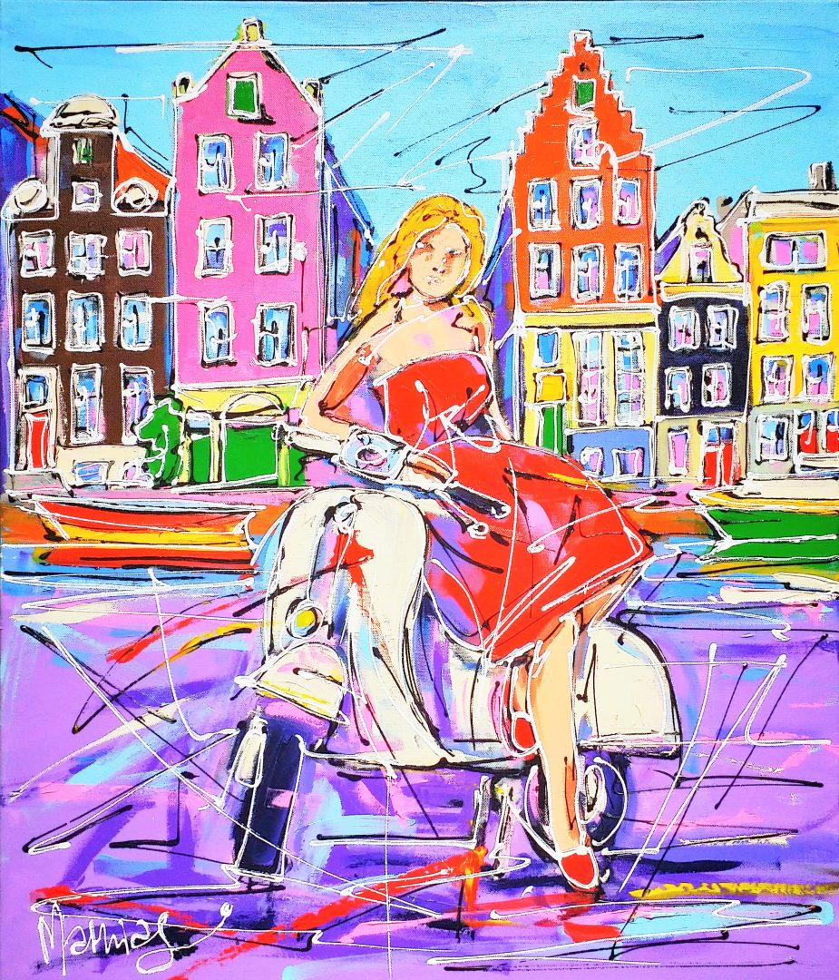 Street-of-Amsterdam-red-girl-on-the-scooter」アクリル20号.jpg