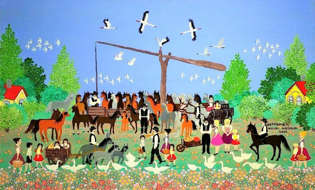Horses-with-people」油彩・アクリル40×65cm.jpg