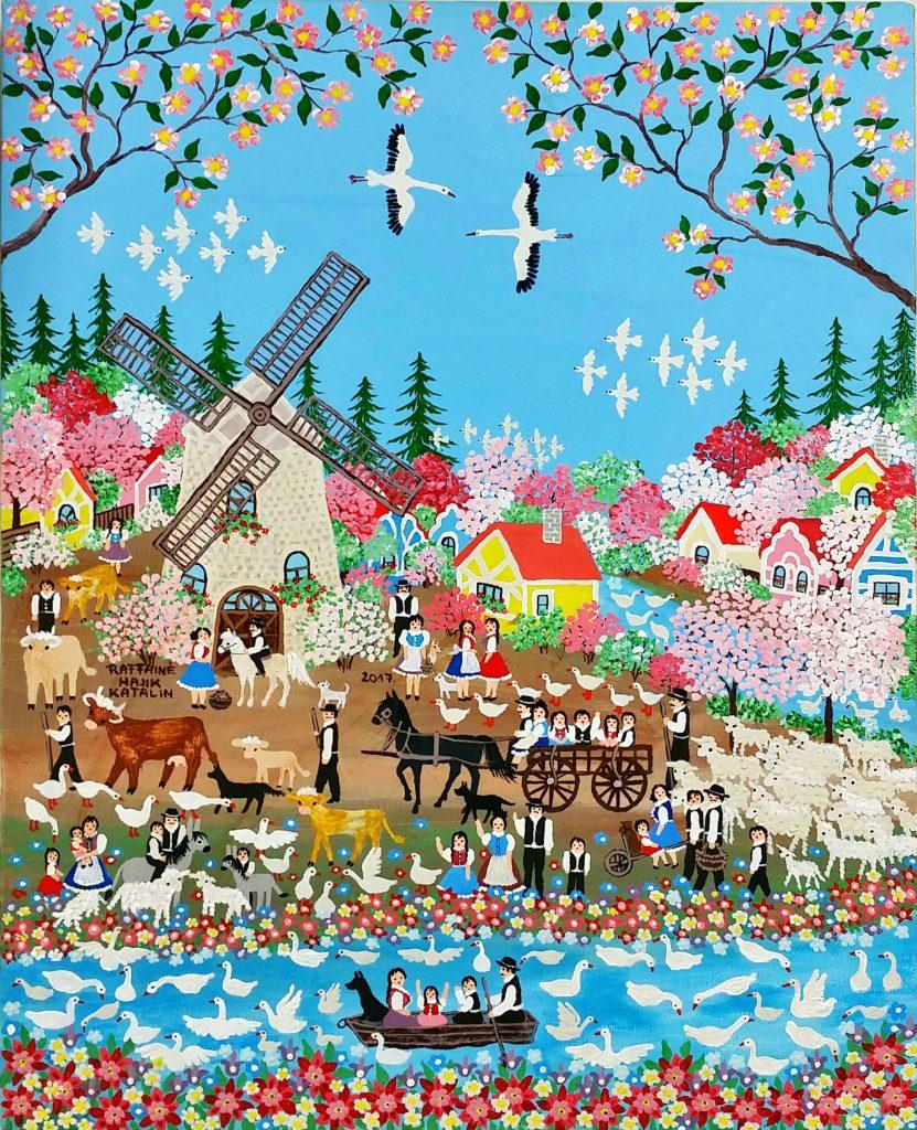 Spring-next-to-the-river」アクリル油彩50x40cm.jpg