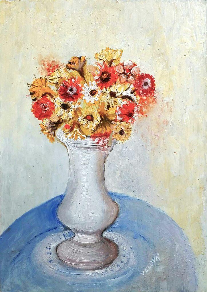 Flower-on-blue-table」油彩4号1810-21.jpg