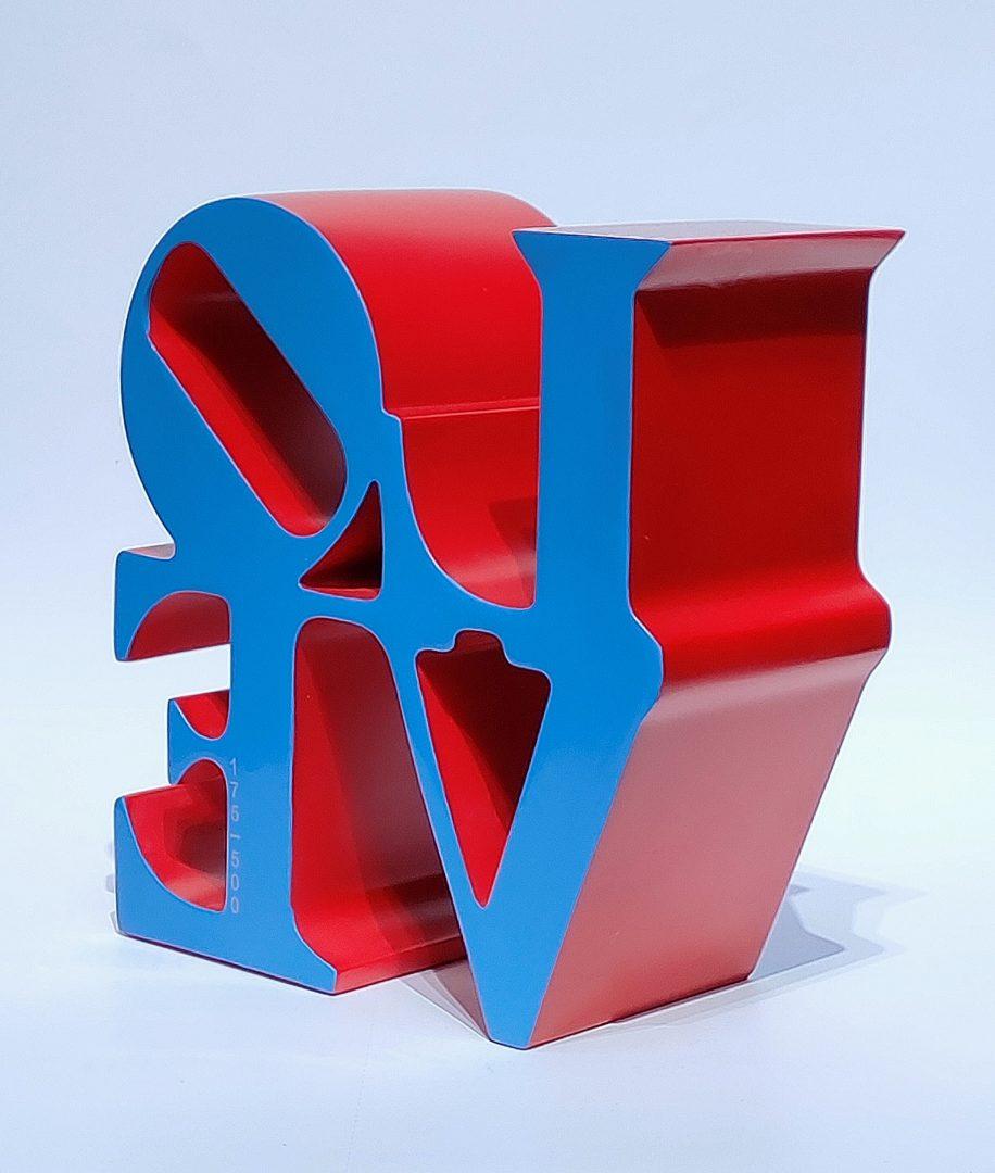 No.99-78ロバート・インディアナ「LOVEブルー」ポリストーン15×15×7cm2.jpg